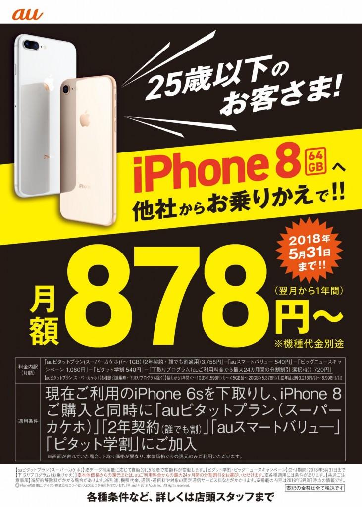 iPhone8 64GBランコス訴求